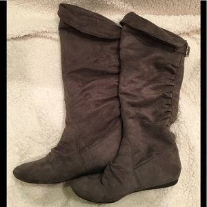 Report Gray Faux Suede Boots